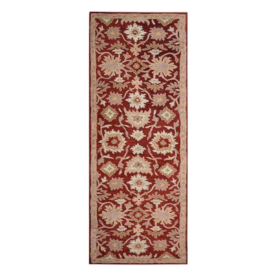 Creamer Hand-Tufted Red Area Rug Rug Size: Runner 26 x 8