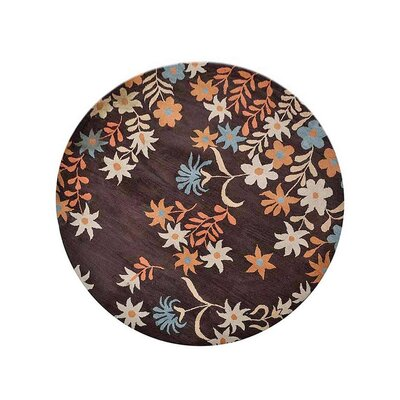 Campas Hand-Tufted Wool/Cotton Brown Area Rug Rug Size: Round 8