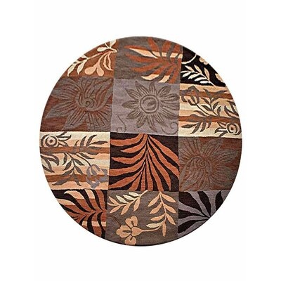 Campas Hand-Tufted Rust/Brown Area Rug Rug Size: Round 10