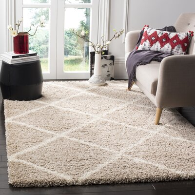 Hampstead Shag Brown/Beige Area Rug Rug Size: Rectangle 51 x 76