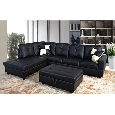 Faunce Sectional with Ottoman Orientation: Left Hand Facing, Upholstery: Black