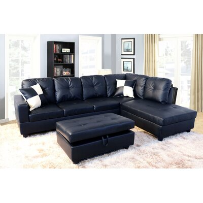 Faunce Sectional with Ottoman Orientation: Right Hand Facing, Upholstery: Black