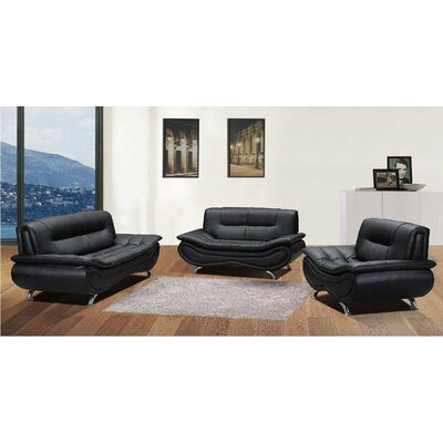 Chiang 2 Piece Living Room Set Upholstery: Black