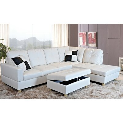 Faunce Sectional with Ottoman Orientation: Right Hand Facing, Upholstery: White