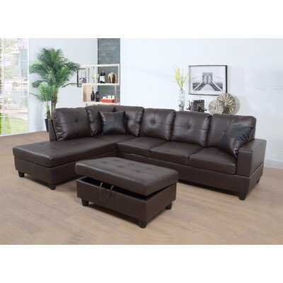 Faunce Sectional with Ottoman Orientation: Left Hand Facing, Upholstery: Espresso