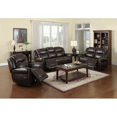 Fassett 3 Piece Living Room Set Upholstery: Dark Brown