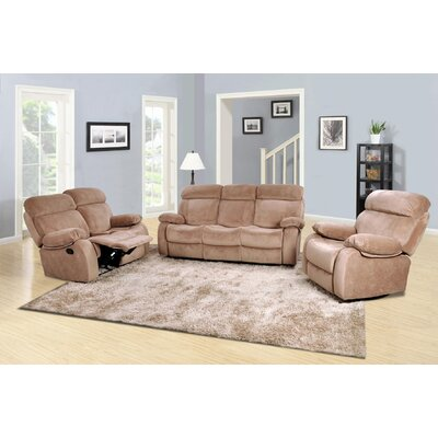 Evins 3 Piece Living Room Set Upholstery: Beige