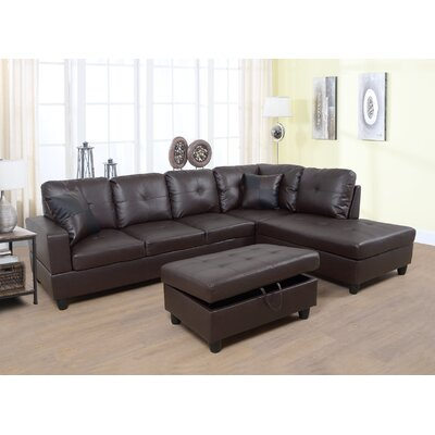 Faunce Sectional with Ottoman Orientation: Right Hand Facing, Upholstery: Espresso