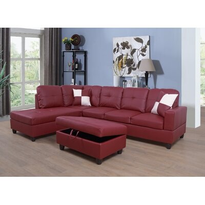 Faunce Sectional with Ottoman Orientation: Left Hand Facing, Upholstery: Red