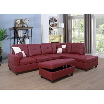 Faunce Sectional with Ottoman Orientation: Right Hand Facing, Upholstery: Red