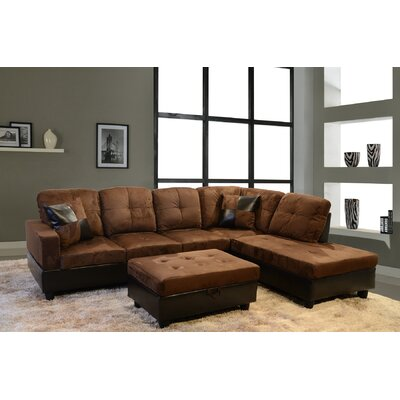 Fava Sectional with Ottoman Orientation: Right Hand Facing, Upholstery: Chocolate