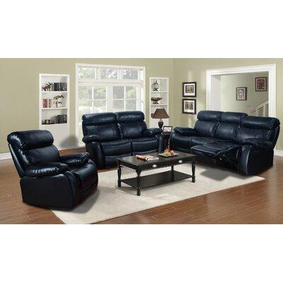 Fatuberlio 3 Piece Living Room Set Upholstery: Black