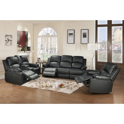 Faucette 3 Piece Living Room Set Upholstery: Black