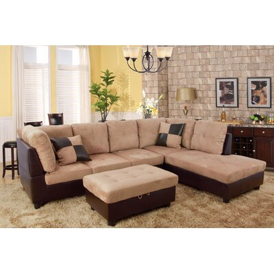 Favela Sectional with Ottoman Orientation: Right Hand Facing, Upholstery: Beige