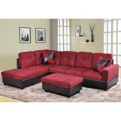 Fava Sectional with Ottoman Orientation: Left Hand Facing, Upholstery: Red/Brown