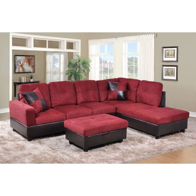 Fava Sectional with Ottoman Orientation: Right Hand Facing, Upholstery: Red/Brown