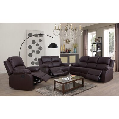 Faucher 3 Piece Living Room Set Upholstery: Brown