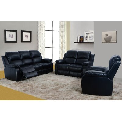 Faucher 3 Piece Living Room Set Upholstery: Black