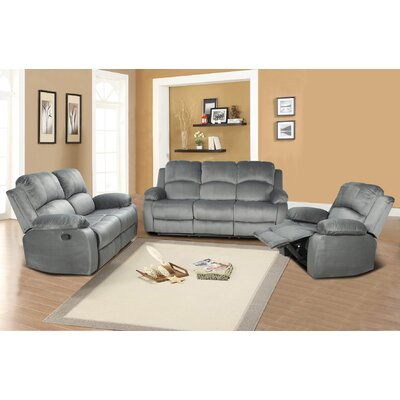 Faucette 3 Piece Living Room Set Upholstery: Gray