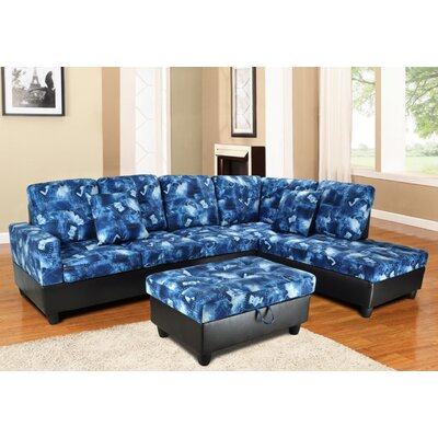 Fava Sectional with Ottoman Orientation: Right Hand Facing, Upholstery: Blue
