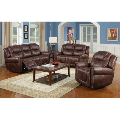 Fassett 3 Piece Living Room Set Upholstery: Brown