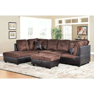 Favela Sectional with Ottoman Orientation: Left Hand Facing, Upholstery: Chocolate