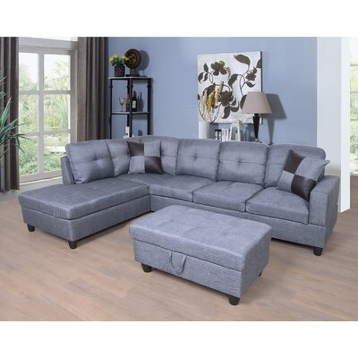 Fava Sectional with Ottoman Orientation: Left Hand Facing, Upholstery: Gray