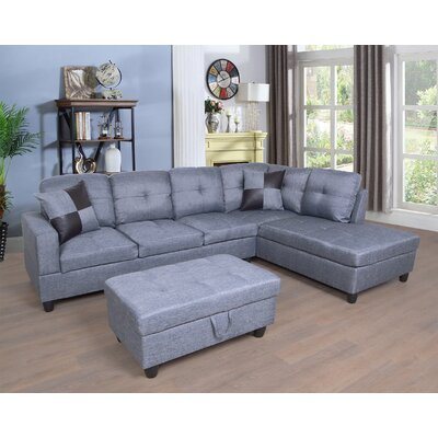 Fava Sectional with Ottoman Orientation: Right Hand Facing, Upholstery: Gray