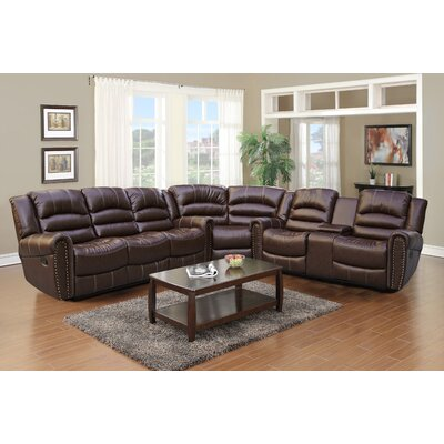 Stroh Reclining Sectional Upholstery: Brown/Black