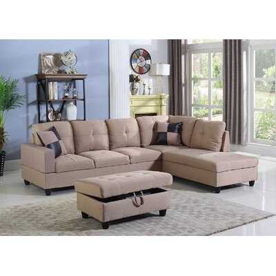 Fawcett Sectional with Ottoman Orientation: Right Hand Facing