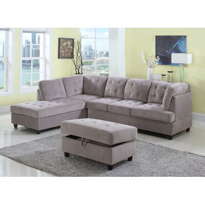 Feagin Sectional with Ottoman Orientation: Left Hand Facing, Upholstery: Gray