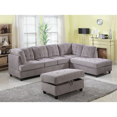Feagin Sectional with Ottoman Orientation: Right Hand Facing, Upholstery: Gray
