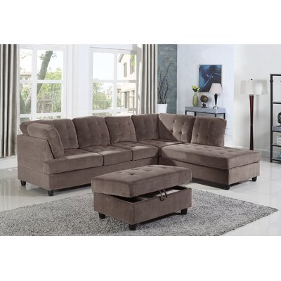 Feagin Sectional with Ottoman Orientation: Right Hand Facing, Upholstery: Espresso