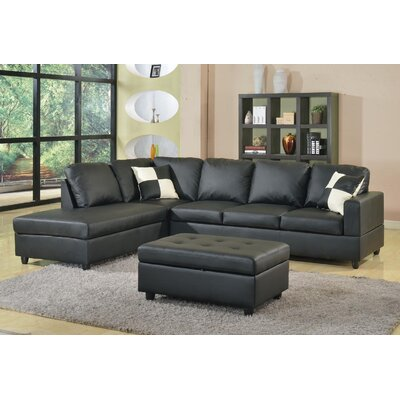 Bateman Sectional with Ottoman Upholstery: Black