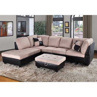 Fearon Sectional with Ottoman Orientation: Left Hand Facing, Upholstery: Brown