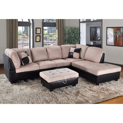 Fearon Sectional with Ottoman Orientation: Right Hand Facing, Upholstery: Brown