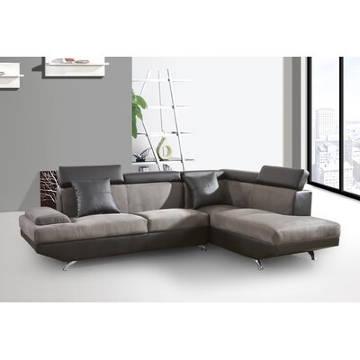 Sarkis Corner Sectional Orientation: Right Hand Facing, Upholstery: Slategray