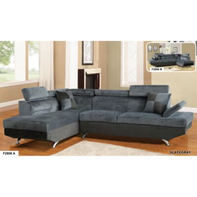 Sarkis Corner Sectional Orientation: Left Hand Facing, Upholstery: Gray