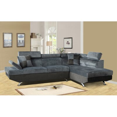 Sarkis Corner Sectional Orientation: Right Hand Facing, Upholstery: Gray
