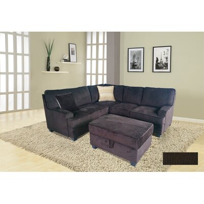 Faust Sectional with Ottoman Upholstery: Brown