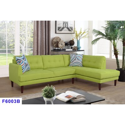 Whitely Sectional Orientation: Right Hand Facing, Upholstery: Green