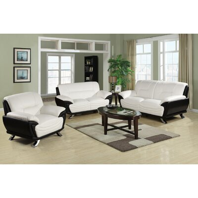 Conant 3 Piece Living Room Set Upholstery: White