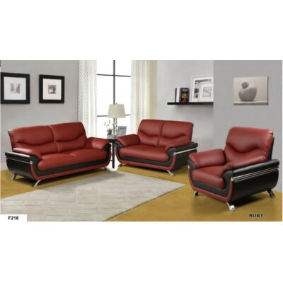 Conant 3 Piece Living Room Set Upholstery: Ruby