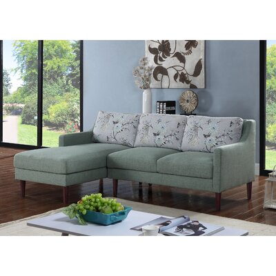 Febus Sectional Orientation: Left Hand Facing, Upholstery: Green
