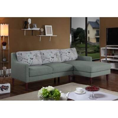Febus Sectional Orientation: Right Hand Facing, Upholstery: Green