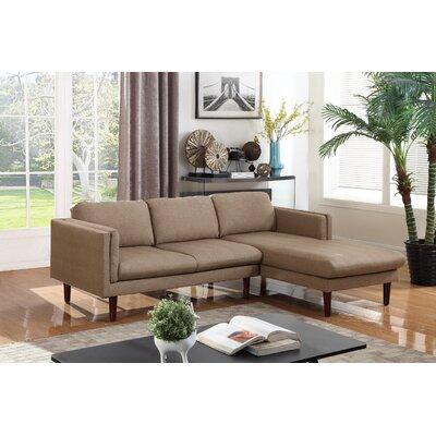 Fleishman Sectional Orientation: Right Hand Facing, Upholstery: Brown