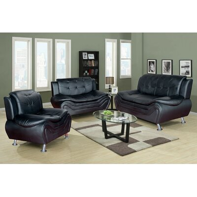 Chicoine 3 Piece Living Room Set Upholstery: Black