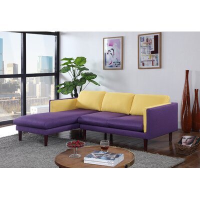 Fleishman Sectional Orientation: Left Hand Facing, Upholstery: Yellow/Purple