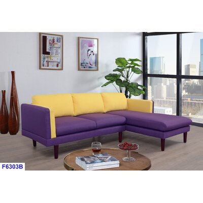 Fleishman Sectional Orientation: Right Hand Facing, Upholstery: Yellow/Purple