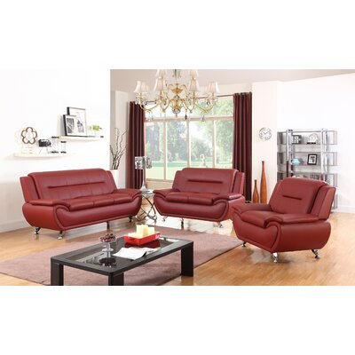 Chiasson 3 Piece Living Room Set Upholstery: Red